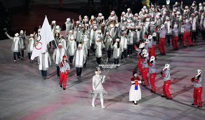 Российские спортсмены во время парада атлетов на церемонии открытия зимних Олимпийских игр в Пхенчхане