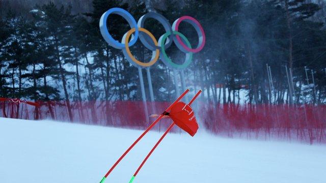 Ветер в Пхенчхане, который помешал старту соревнований по горнолыжному спорту
