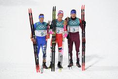 Федерико Пеллегрино, Йоханнес Хёсфлот Клебо и Александр Большунов (слева направо)