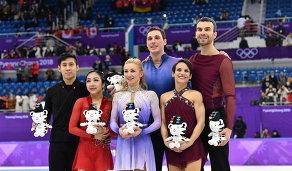 Суй Вэньцзин и Хань Цун, Алена Савченко и Брюно Массо и Меган Дюамель и Эрик Рэдфорд (слева направо)