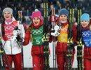 Российские лыжницы Наталья Непряева, Юлия Белорукова, Анастасия Седова и Анна Нечаевская (слева направо)