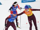Российские лыжницы Анна Нечаевская (слева) и Анастасия Седова