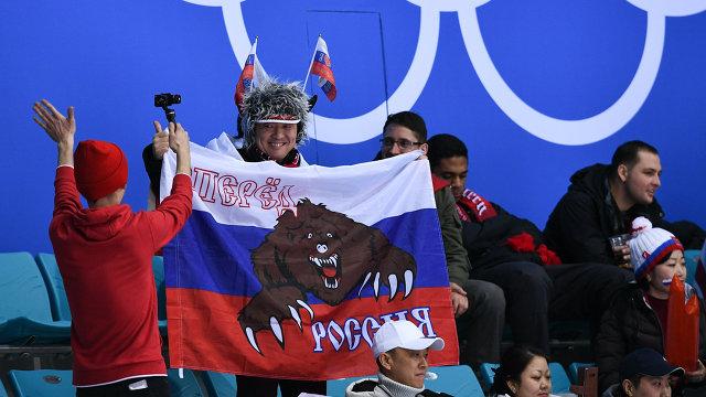 Болельщики во время хоккейного матча Россия - США