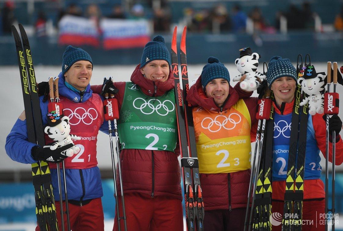Андрей Ларьков, Александр Большунов, Алексей Червоткин и Денис Спицов (слева направо)