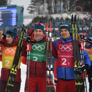 Денис Спицов, Алексей Червоткин, Александр Большунов и Андрей Ларьков (слева направо)