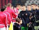 Футболисты ЦСКА и Црвены Звезды перед началом матча 1/16 Лиги Европы