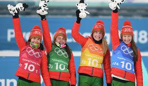 Белорусские биатлонистки Надежда Скардино, Ирина Кривко, Динара Алимбекова и Дарья Домрачева (слева направо)