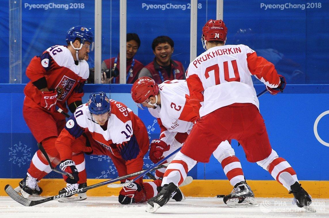 Игровой момент матча Чехия - Россия