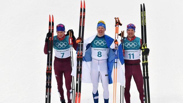 Александр Большунов, Ийво Нисканен, Андрей Ларьков (слева направо)