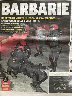 Первая страница газеты MARCA после матча Атлетик - Спартак