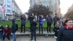Журналисты на площади Plaza Moyua в городе Бильбао перед матчем Атлетик - Спартак