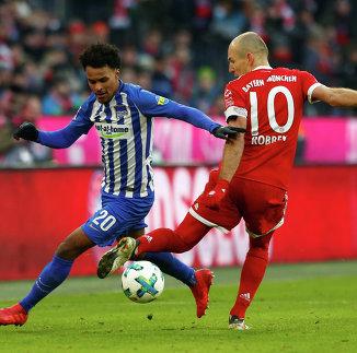 Игровой момент матча Бавария - Герта