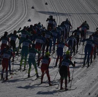 Лыжницы на дистанции масс-старта на 30 км классическим стилем на ОИ-2018