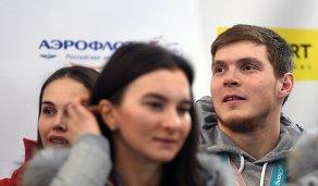 Фристайлист Сергей Ридзик на церемонии встречи российских спортсменов - участников Олимпиады 2018 в аэропорту Шереметьево.