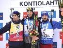 Мартен Фуркад (слева), Юлиан Эберхард и Антон Шипулин (справа)