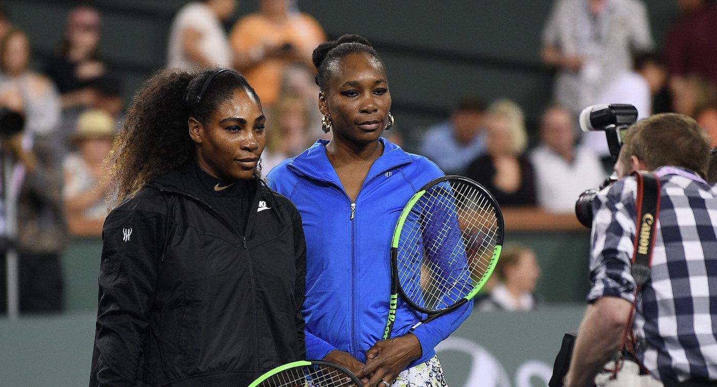 Американские теннисистки Серена Уильямс и Винус Уильямс (слева направо)