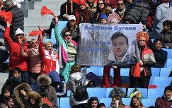 Болельщики сборной России поддерживают спортсменов