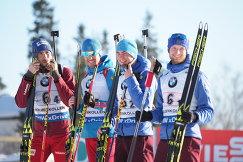 Биатлонисты сборной России Антон Шипулин, Дмитрий Малышко, Антон Бабиков, Максим Цветков (слева направо)