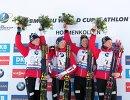 Биатлонисты сборной Норвегии Йоханнес Бё, Тарьей Бё, Ларс Хельге Биркеланд, Хенрик Л'Абе-Лунн (слева направо)