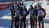 Биатлонисты сборной России Антон Шипулин, Дмитрий Малышко, Антон Бабиков, Максим Цветков (справа налево)