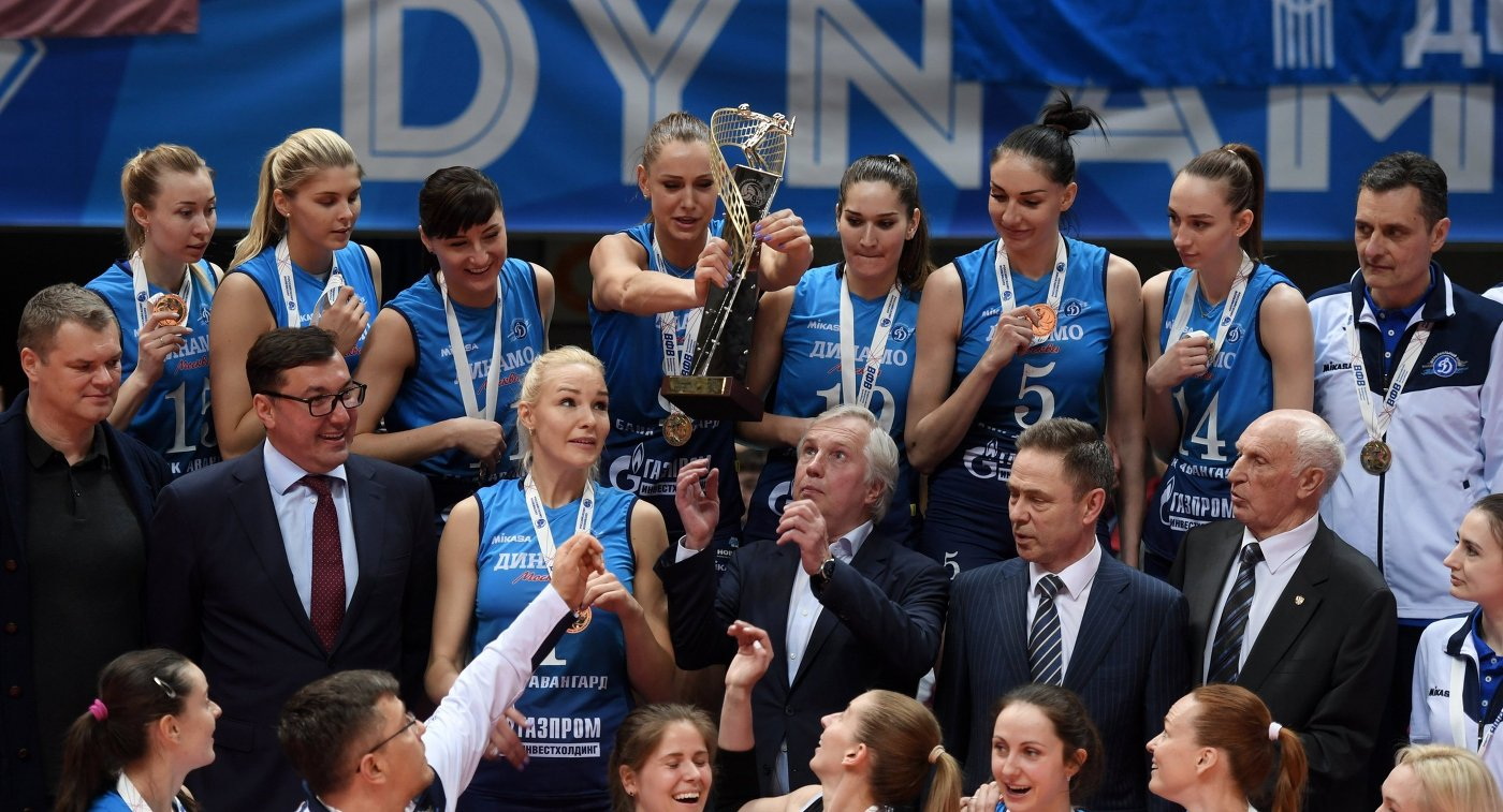 Волейболистки московского «Динамо» 3-й раз  подряд выиграли чемпионат Российской Федерации