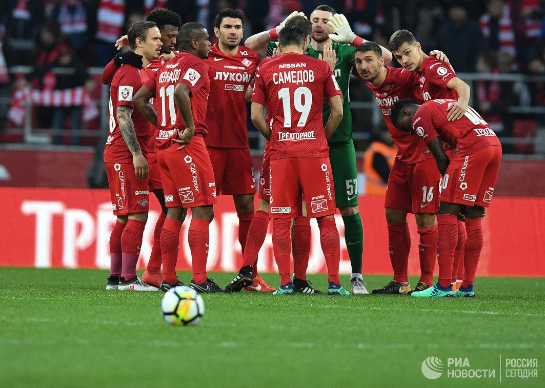 Футболисты Спартака перед началом матча