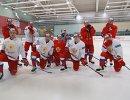 Хоккеисты сборной России на тренировке
