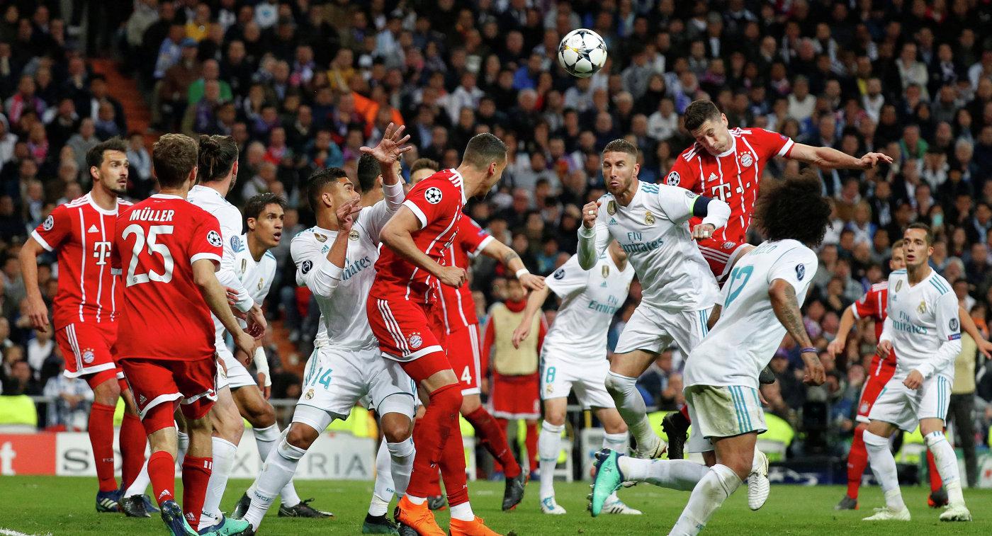 Игровой момент ответного полуфинального матча Лиги чемпионов Реал - Бавария