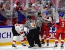 Игровой момент в матче между сборными командами Чехии и Швейцарии