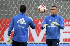 Вратарь сборной России по футболу Владимир Габулов (справа)
