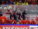 Исполняющий обязанности главного тренера сборной России Илья Воробьев и старший тренер сборной России Алексей Жамнов (справа)