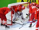 Хоккеисты сборной России перед началом матча