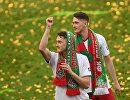 Футболисты Локомотива Антон Миранчук (слева) и Алексей Миранчук
