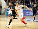 Игровой момент матча чемпионата России по мини-футболу Тюмень - Сибиряк