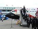 Футболисты сборной Египта в аэропорту Северный в Грозном
