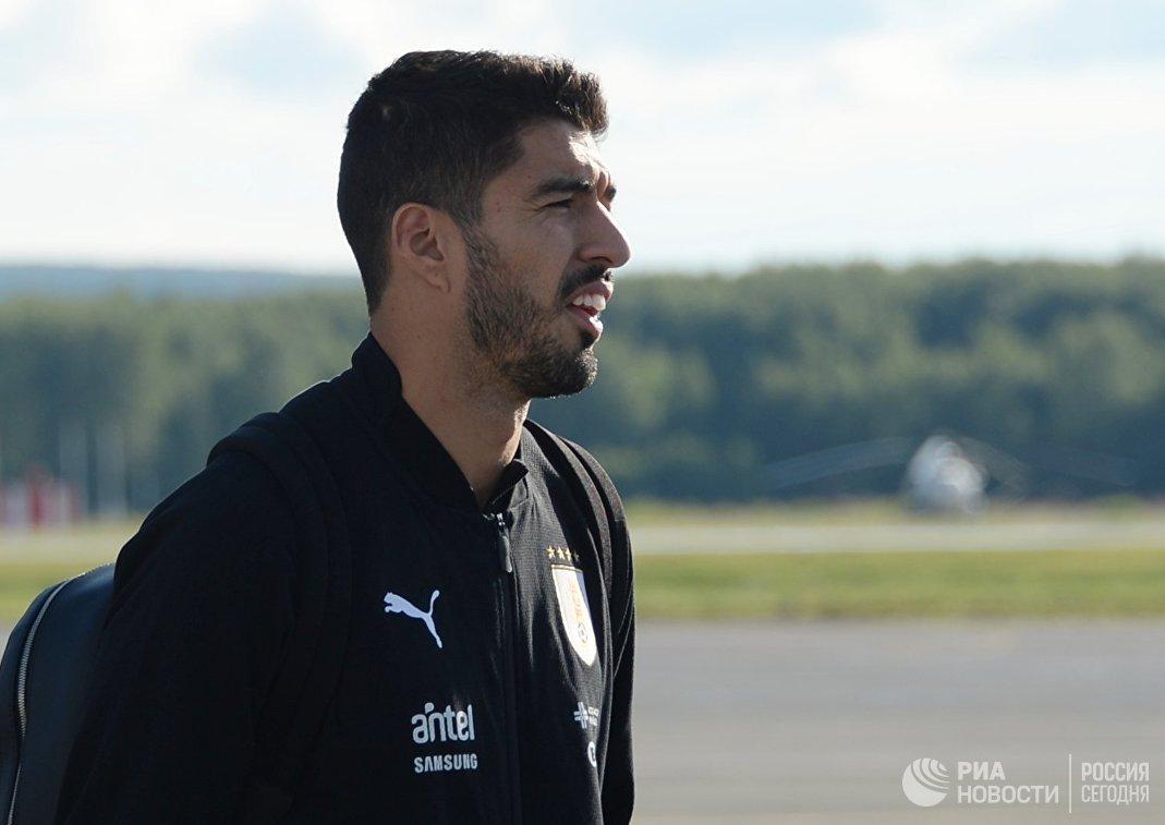 Форвард сборной Уругвая Луис Суарес в аэропорту Нижнего Новгорода