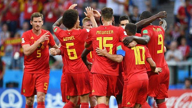 Игроки сборной Бельгии радуются забитому голу
