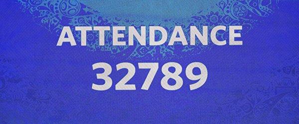 Электронное табло с информацией о количестве зрителей в матче Франция - Перу