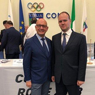 Президент ISBF Иво Ферриани и генеральный секретарь ФБР Сергей Пархоменко