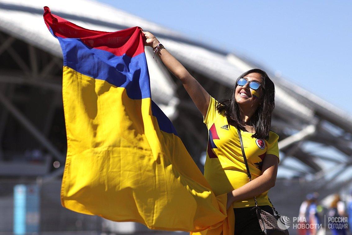 Болельщица сборной Колумбии перед матчем группового этапа чемпионата мира между сборными Сенегала и Колумбии