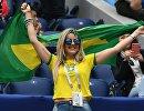 Болельщица сборной Бразилии перед началом матча ЧМ-2018 между сборными Бразилии и Коста-Рики