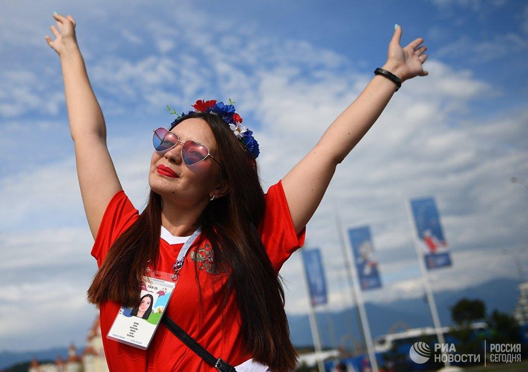 Болельщица перед матче чемпионата мира между сборными Бельгии и Панамы