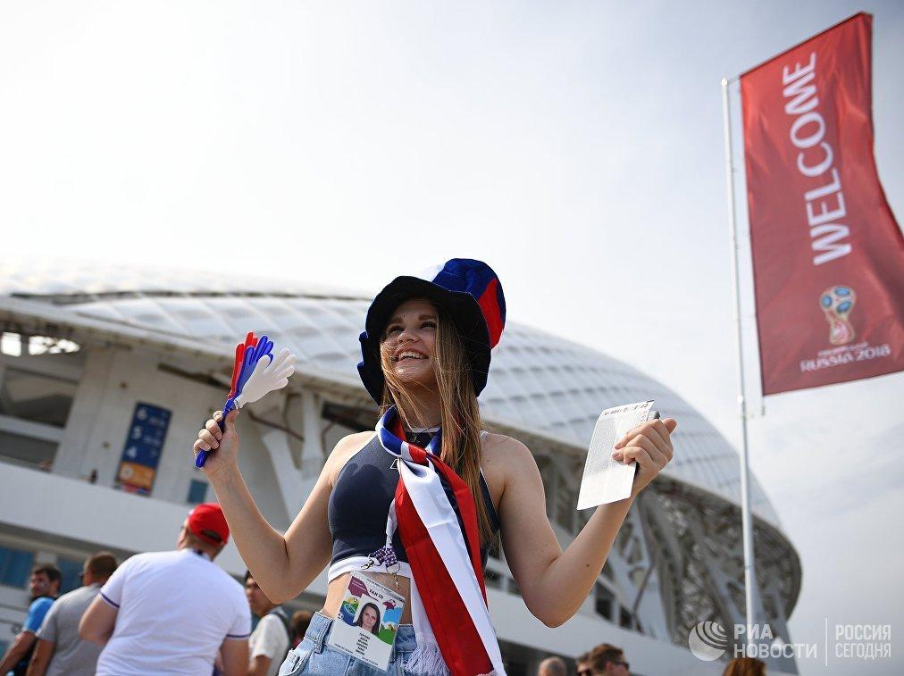 Болельщица перед началом матча чемпионата мира между сборными Бельгии и Панамы