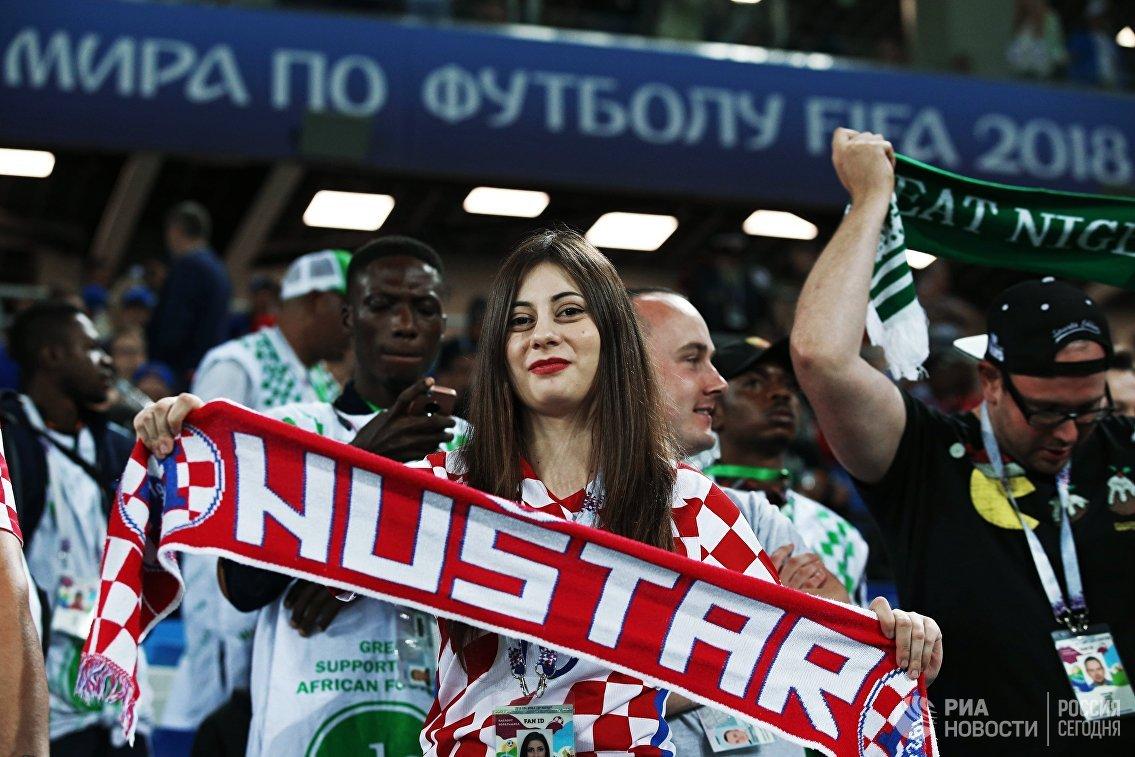 Болельщица на матче чемпионата мира по футболу между сборными Хорватии и Нигерии