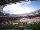 Команды перед началом матча между сборными Испании и России
