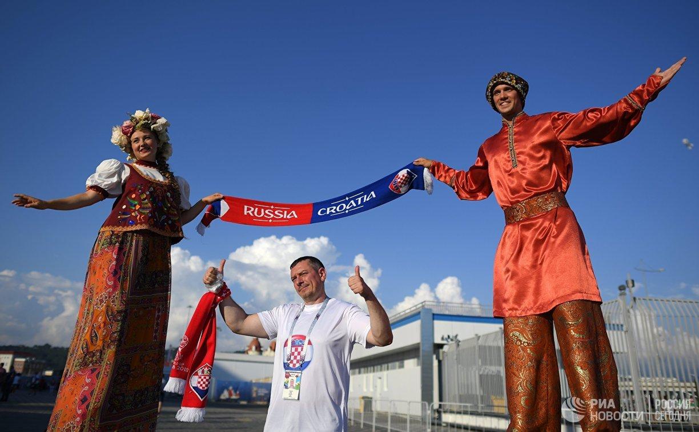 Болельщики перед матчем 1/4 финала чемпионата мира между сборными России и Хорватии