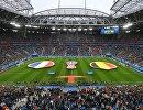 Национальные флаги сборной Франции и сборной Бельгии