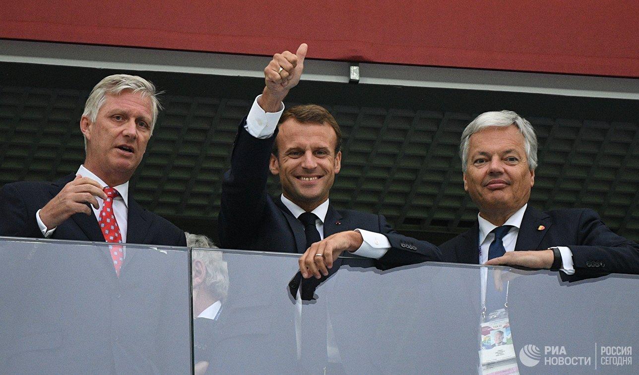 Король Бельгии Филипп, президент Франции Эммануэль Макрон и министр иностранных и европейских дел Бельгии Дидье Рейндерс