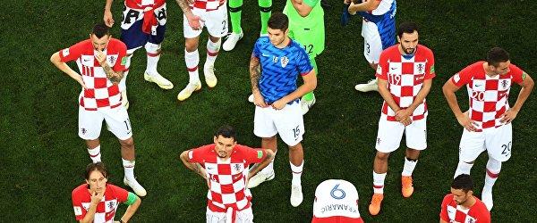 Футболисты сборной Хорватии после финального матча