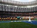Футболисты на поле перед началом финального матча между сборными Хорватии и Франции